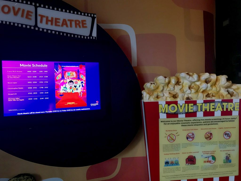 Entertainment at Singapore Airport movie theatre