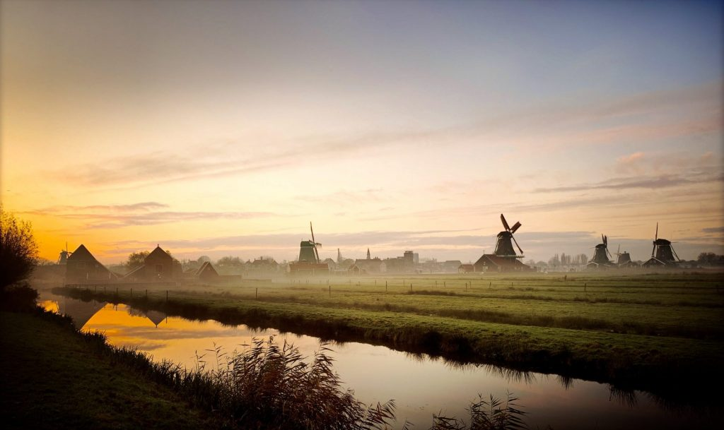 Countryside of the Netherlands windmills