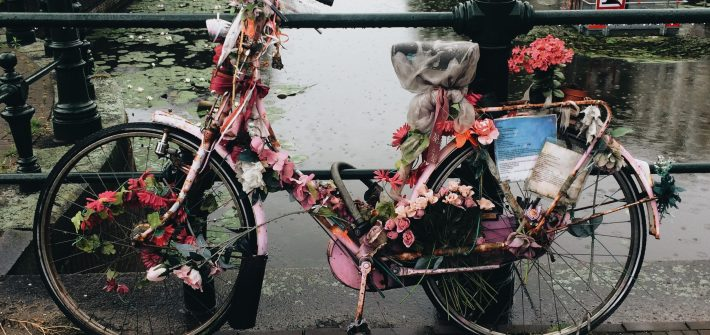 bike covered with flowers behave when travelling to the Netherlands