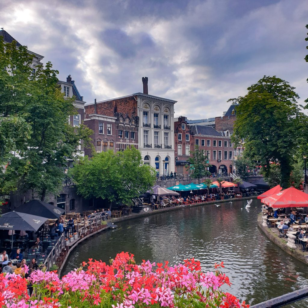 outdoor cafes in both sides of canal Utrecht